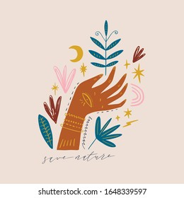 Magical ornate hand. Planet week art, Earth day. Save nature, green life concept. Vector Illustration. Clipart image