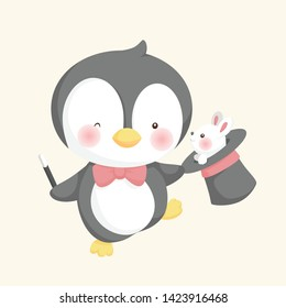 Magical Pinguin and white rabbit