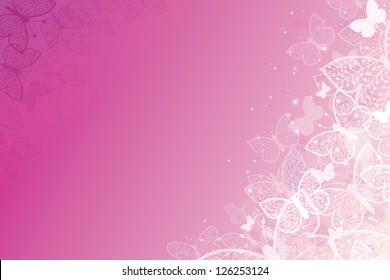 Magical pink butterflies horizontal background