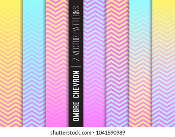 Magical Rainbow Ombre Chevron Vector Patterns. Fantasy Neon. Gradient Fade Texture Dip Dye Style. Zigzag Stripes Blending into Solid Color. Horizontally Seamless Pattern Tile Swatches Included.