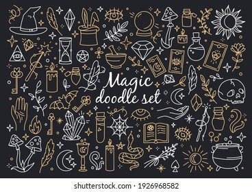 A magical set of doodle style icons. Vector linear witchcraft and mystical symbols. Esoteric items.