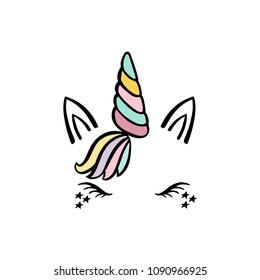 Magical silhouette unicorn head. Cute illlustration.