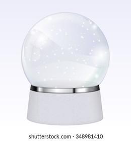 Magical snow globe. Christmas gift. Vector
