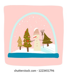 a magical snow globe inside is snowing, snowman with a bucket on his head and a broom, Christmas trees decorated with balls