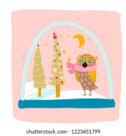 a magical snow globe inside is snowing, an owl in a yellow scarf and glasses, Christmas trees decorated with balls, the moon shines and the stars Shine