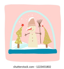 a magical snow globe inside is snowing, snowman with a bucket on his head and a broom, Christmas trees