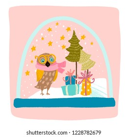 a magical snow globe inside is snowing, an owl in a yellow scarf and glasses, Christmas trees, gifts with bows and the stars Shine