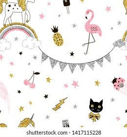 Magical sparkling creatures seamless pattern. Unicorn on rainbow with golden glitters. Shiny pink flamingo, ladybug, cherries. Cat face with bowknot. Wallpaper, wrapping paper, textile print