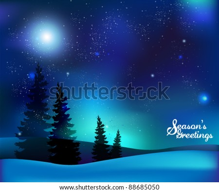 magical starry christmas night vector background - Starry Christmas