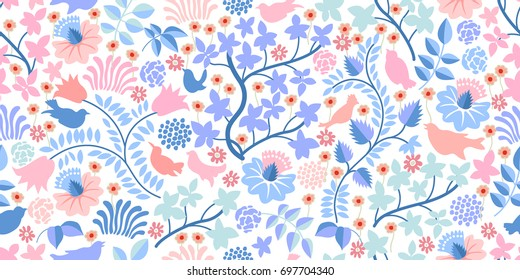 Magical summer forest. Seamless vector pattern with birds, wildflowers and trees on white background. Textile print with vintage motifs.