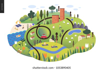 Magical summer landscape - green island with lake, hills, roads, cars, houses and trees, with mountains and clouds above and flowers on foreground. Sheep and resting and doing sport people