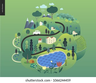 Magical summer landscape - green island with lake, hills, roads, cars, houses and trees, with mountains and clouds above and flowers on foreground.