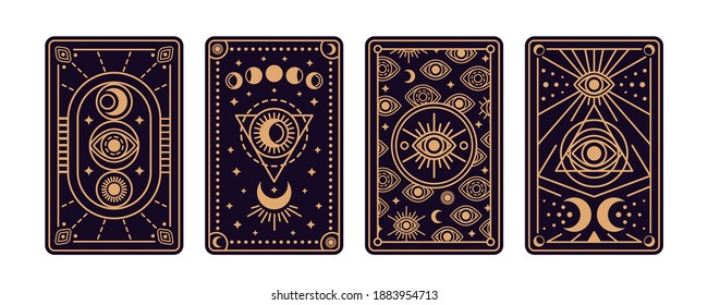 Magical tarot cards deck set. Spiritual moon and celestial eye symbols. Vector illustration. Astrology or sacred geometry poster design. Magic occult pattern, esoteric boho style.