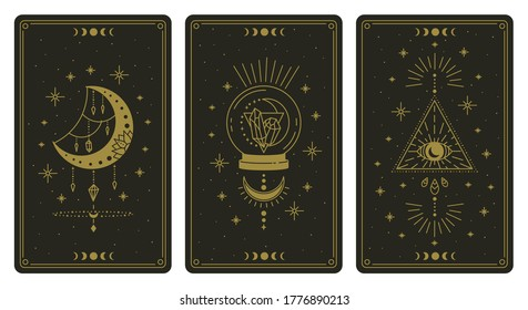 Magical tarot cards. Magic occult tarot cards, esoteric boho spiritual tarot reader moon, crystal and magic eye symbols vector illustration set. Magic card astrology, drawing spiritual poster
