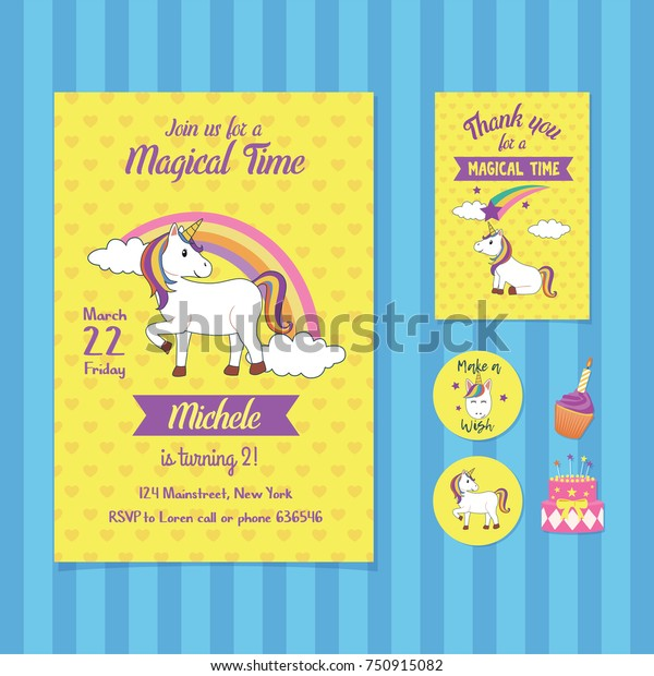 Magical Time Birthday Invitation Card Template Stock Vector