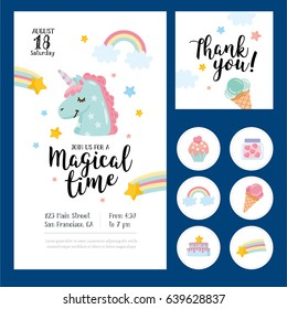 Magical time card set. Card, label and poster for printing. Magic illustration with unicorn and different elements of fairy tales. Poster for children bedroom. Invitation for kids party.