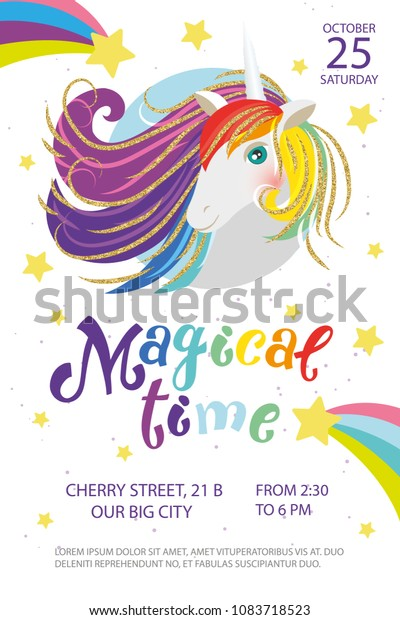 Magical Time Party Birthday Invitation Template Stock Vector
