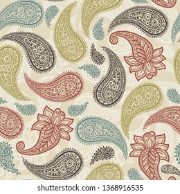 Magical Traditional Paisleys Seamless Pattern for wallpaper design or fabric textile printing
