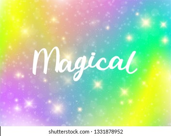 Magical Typography. Sparkle Bright Background Vector Colorful Glitter Modern layout. Galaxy Effect Cover.