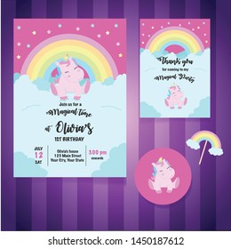 Magical Unicorn Birthday party Invitation Card , Baby Shower, Decoration, Template