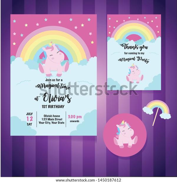 Magical Unicorn Birthday Party Invitation Card Stock Vector