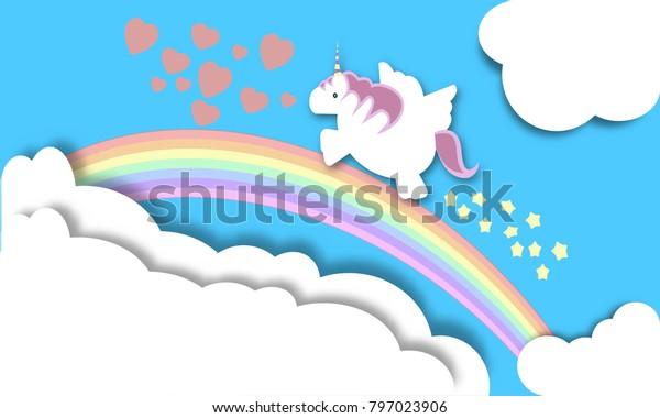 Magical unicorn flying over a rainbow, Fantasy concept.