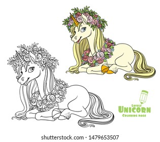 Magical unicorn in a magnificent wreath of roses lies on the floor color and outlined picture for coloring book on white background