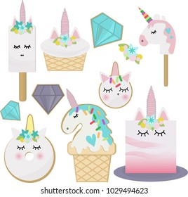magical unicorn treats. vector illustration. fairy tale characters. themed dessert for a party. flat design