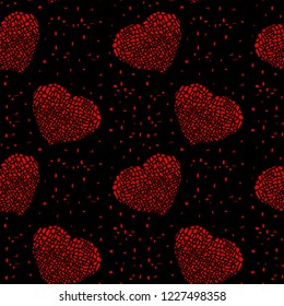 Magical Valentine's Day vector seamless pattern in Mondriaan (Mondrian) style bright red hearts on a black background for bedding, textile, wallpaper, wrapping, furnishings, cover page, web site.