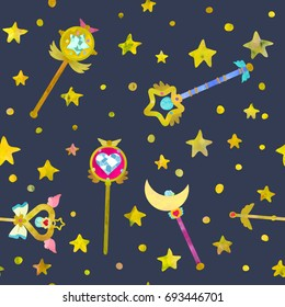 Magical wands and stars. Cute seamless pattern. Watercolour imitation