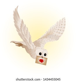 A magical white owl flies and delivers a letter