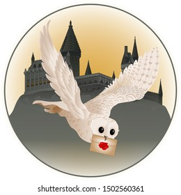 A magical white owl flies and delivers a letter against the background of the castle. Vector illustration