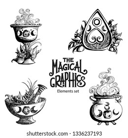 The Magical Wicca graphics set. Bowl, cup, pot, mortar, Ouija and plants.