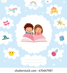 Magical World concept. IIlustration with different elements of fairy tales. Children dream of a fairy tale. Imagination coming to life in a children's fantasy book. Childish greeting card template.