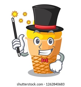 Magician banana ice cream in cone character