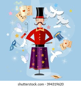 Magician circus shows tricks focuses vector illustration