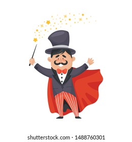 Magician in a cloak and hat. Vector illustration on a white background.