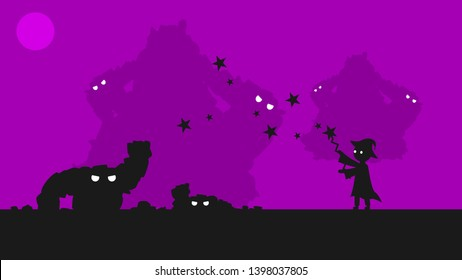 Magician Conjures And Revives The Golem On A Purple Background