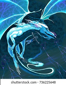Magician and dragon flying in the storm. Vector fantasy illustration