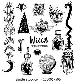 Magician equipment collection of divination elements illustration, drawing, engraving, ink, line art, vector