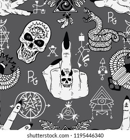 Magician fingers, fuck you symbol, skull and mysterious objects. Seamless pattern. Esoteric, occult and wicca concept, Halloween illustration with mystic symbols and sacred geometry