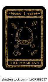 The Magician. Hand drawn major arcana tarot card template. Tarot vector illustration in vintage style with mystic symbols, crystals and line art stars. Witchcraft concept for tarot readers