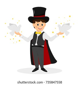 Magician with hat and doves..Isolated on white background. Cartoon style. Vector illustration