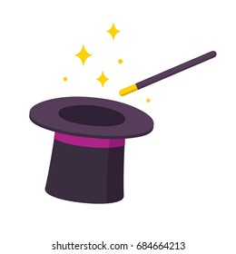 Magician hat and magic wand icon isolated on white background. Simple cartoon vector illustration.
