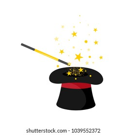 Magician hat and stick with stars.Isolated on white background. Cartoon style. Vector illustration