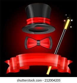 Magician Hat with Magician Wand, Bow Tie and Ribbon, vector icon