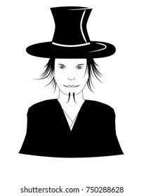 Magician with his Hat on looks straight at the public - vector illustration