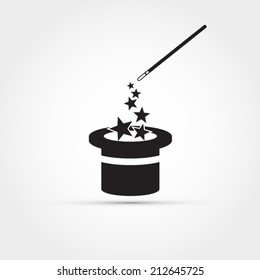 655d69a372c3f1 Magician icon. Magic cap logo concept,vector illustration design