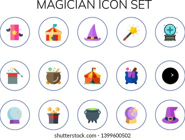 magician icon set. 15 flat magician icons.  Simple modern icons about  - magic, magic hat, circus, cauldron, witch hat, magic tool, crystal ball, ball, witch