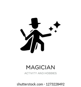 magician icon vector on white background, magician trendy filled icons from Activity and hobbies collection, magician simple element illustration